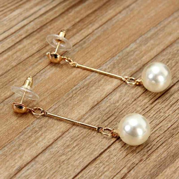 Buy gold plated pearl long tassel drop earrings women for Drop shipping jewelry business