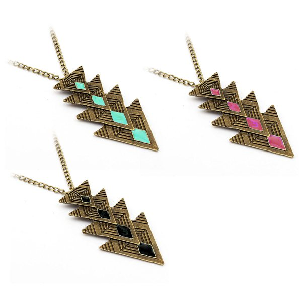 Buy Vintage Triangle Oil Bronze Chain Pendant Necklace For