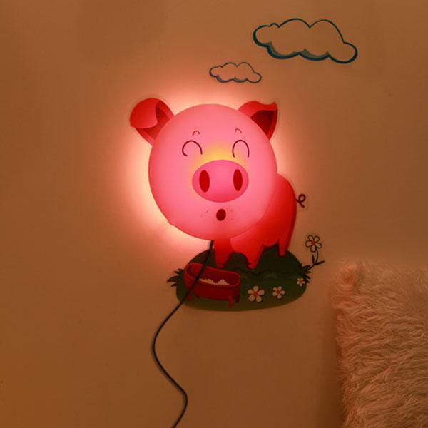 Buy Diy Sticker Wall Lamp Cartoon Pink Pig Led 3d Night