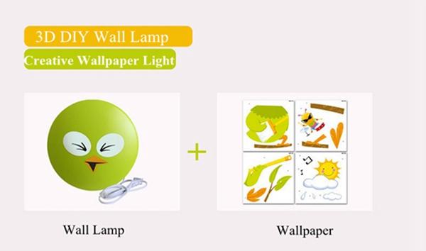 Kob DIY Sticker V u00e6glampe Sod Bird 3D V u00e6gpaper Lys Sovev u00e6relse Decor BazaarGadgets com