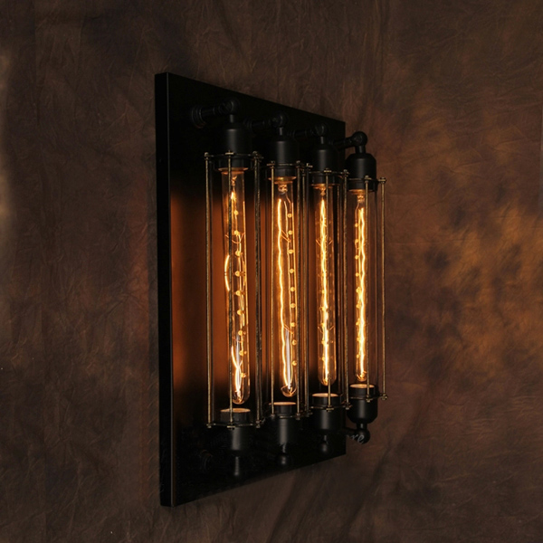 Buy Industrial Pipes Style With 4 Edison Bulb Wall Lamp Wall Decoration BazaarGadgets.com