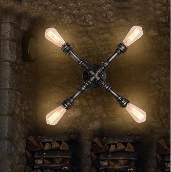 Væglampe Pære - Kob Loft Industrielle Pipes Style Corridor V u00e6glampe Edison P u00e6re BazaarGadgets com
