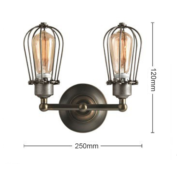 Buy RH Type Double Wire Cages Wall Lamp Edison Light Bulb Fixture Cage BazaarGadgets.com