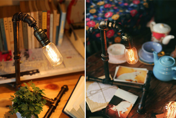 Køb retro vintage water pipe edison pære bordlampe lys