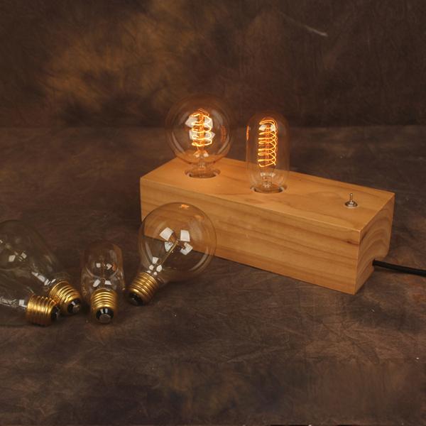 Double Edison Bulb Lamp: Buy Vintage Nostalgic Double Edison Bulb Table Lamp Log