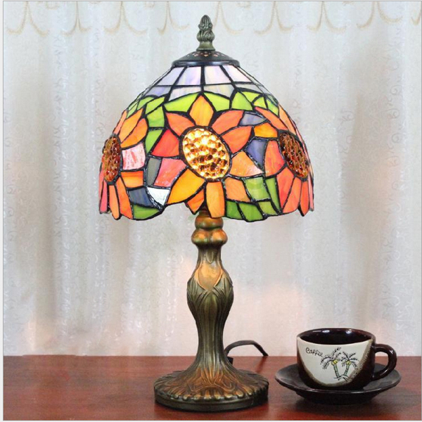Buy Vintage Tiffany Style Stained Glass Sunflower Table